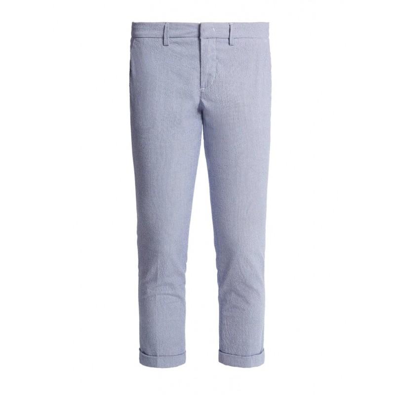 FAY- Pantalone Capri Stretch Millerighe - Oceano