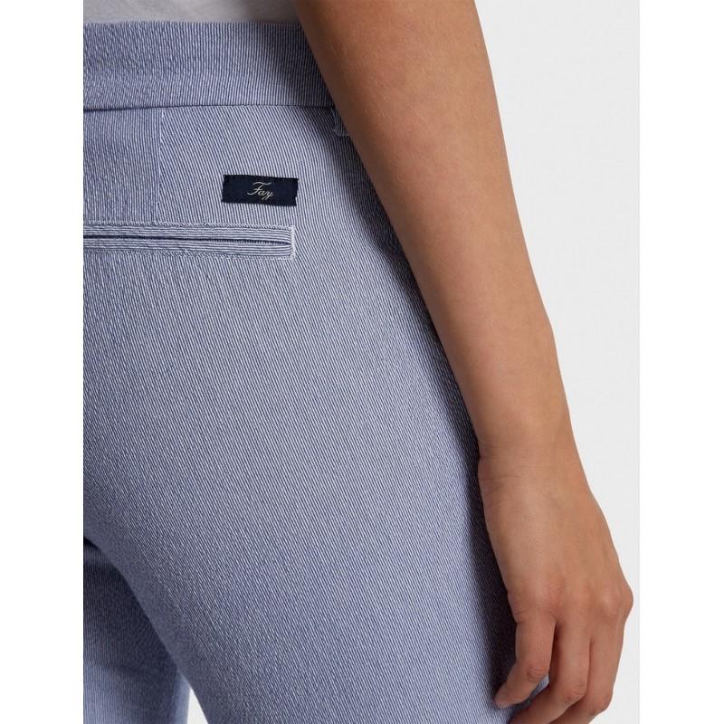 FAY - Capri Stretch Striped Trousers- Ocean