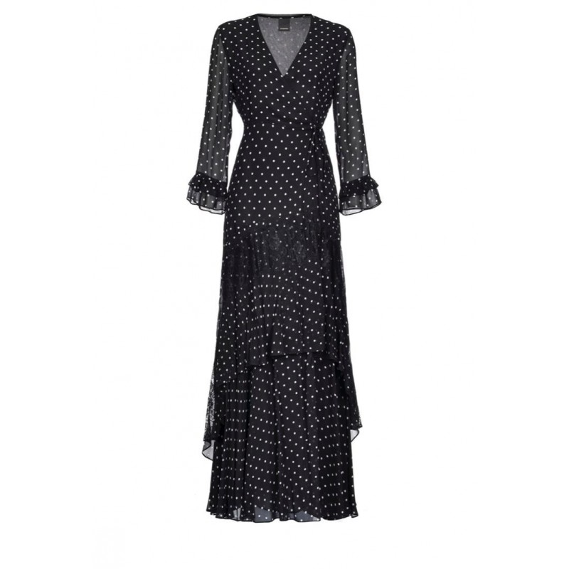PINKO - CHEESECAKE dress in viscose georgette Black/White