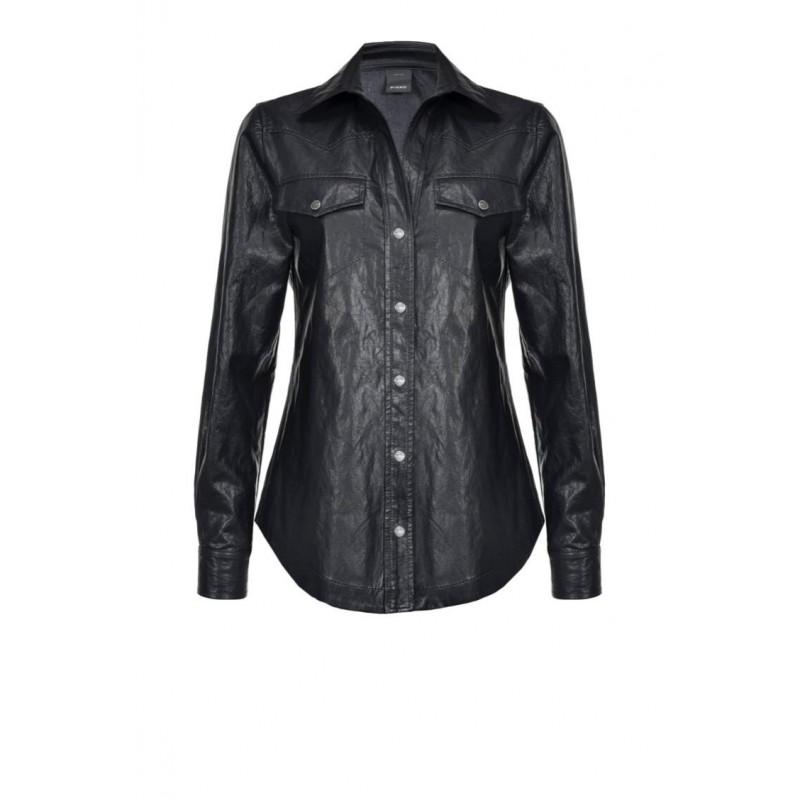 PINKO - CIAMBELLA shirt in faux leather - Black