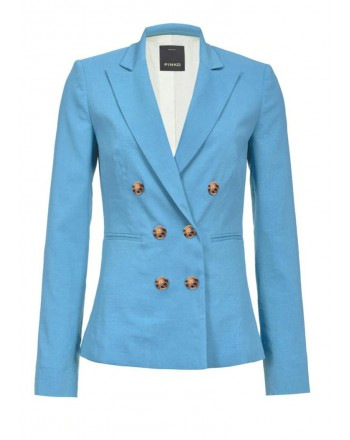PINKO - SIMBAD double breasted linen jacket -  Light Blue