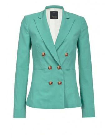 PINKO - SIMBAD double breasted linen jacket -  Green