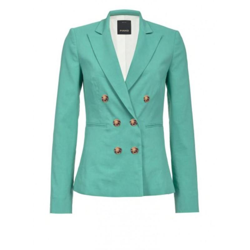 PINKO - SIMBAD double breasted linen jacket -  Green