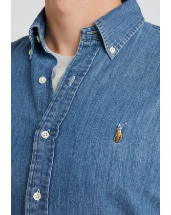 POLO RALPH LAUREN - Camicia Chambray Slim Fit - Denim Scuro