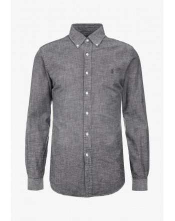 POLO RALPH LAUREN - Camicia Chambray Slim Fit - Light Grey