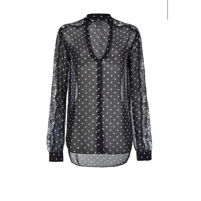 PINKO - Camicia MARRON GLACE' in viscosa - Nero/Banco