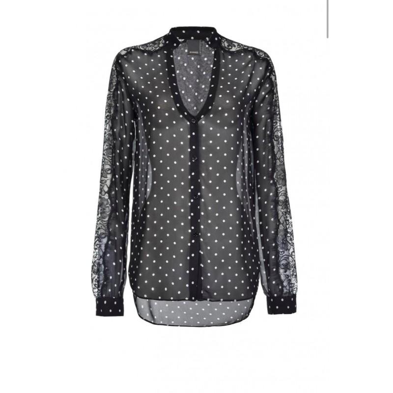 PINKO - MARRON GLACE' shirt in viscose - Black/White