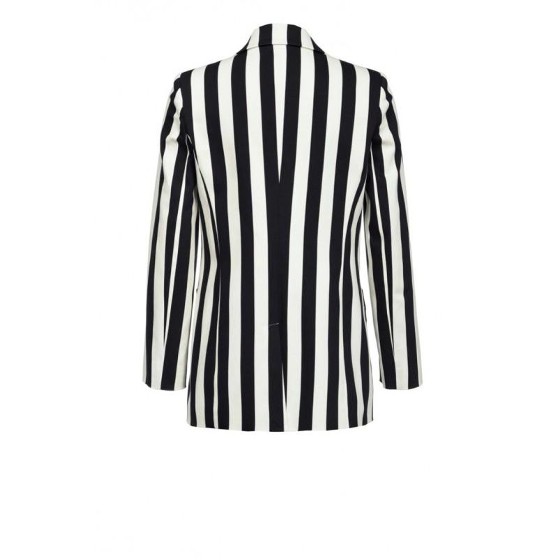 PINKO - CROCCANTE striped stretch cotton jacket - Black/White