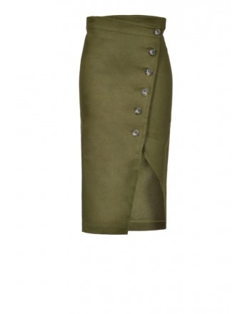 PINKO - Gonna BONTAN in lino - Army Green