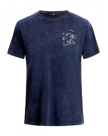 FAY- Cotton Logo T-Shirt- Oil Blue