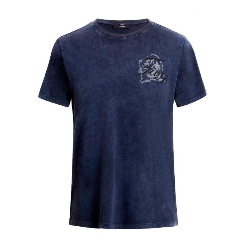 FAY - T-Shirt in Cotone Con Logo- Petrolio