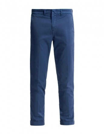 FAY- Slim Fit Chino  Trousers with Lapel - Navy