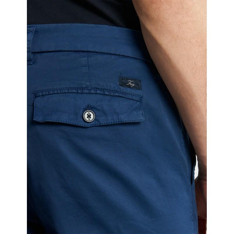FAY - Pantalone Chino Slim Fit con Risvolto- Navy