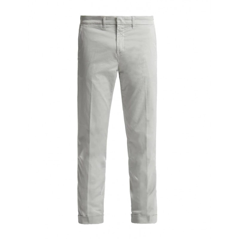 FAY- Slim Fit Chino  Trousers with Lapel - Silver