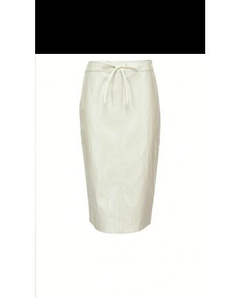 PINKO - MICHETTI faux leather skirt - White