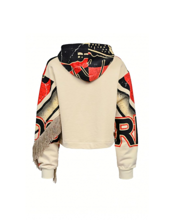 PINKO - RISO sweatshirt with cotton hood - Beige
