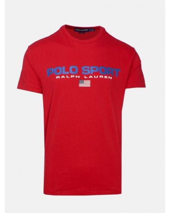 POLO RALPH LAUREN - T-Shirt in Cotone Logo Sport - Rosso