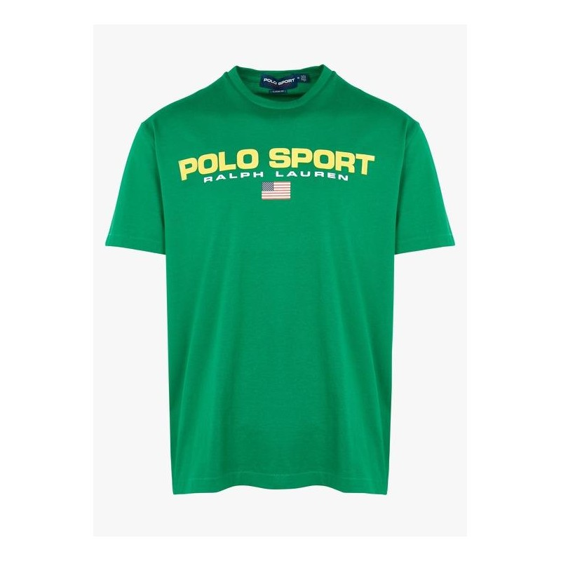 POLO RALPH LAUREN - T-Shirt in Cotone Logo Sport - English Green