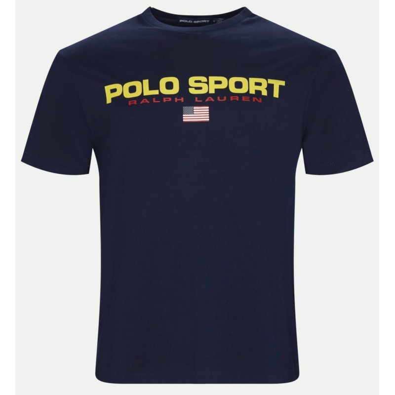 POLO RALPH LAUREN - T-Shirt in Cotone Logo Sport - Navy