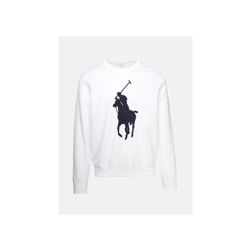 POLO RALPH LAUREN - Cotton Sweatshirt with Logo- White/Navy