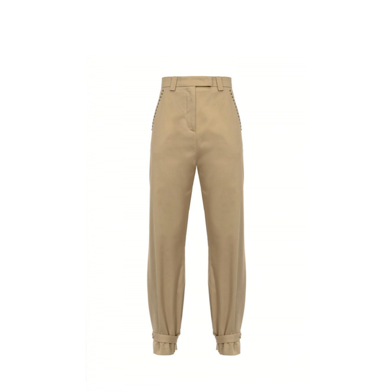 PINKO - High-waisted NANA trousers in stretch cotton - Beige