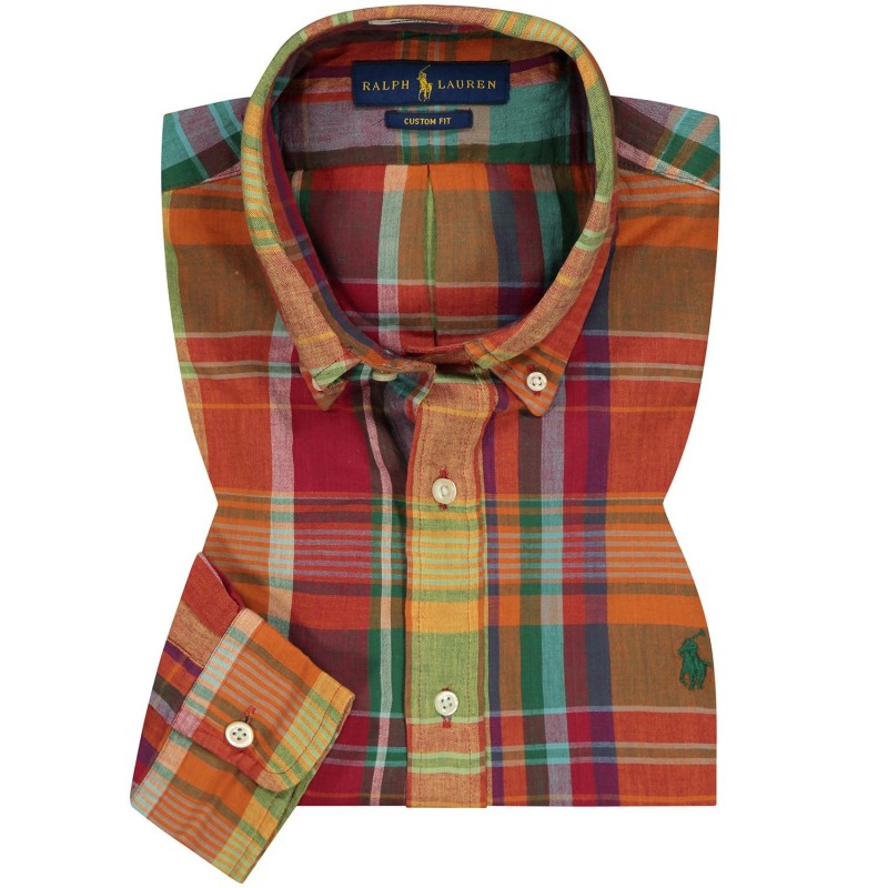POLO RALPH LAUREN - Custom Fit Cotton Shirt - Orange/Red