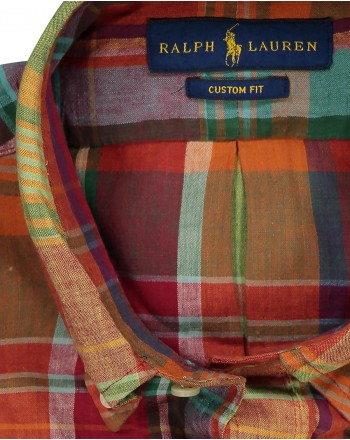 POLO RALPH LAUREN - Camicia in Cotone  Custom Fit - Orange/Rosso