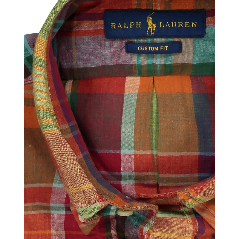 POLO RALPH LAUREN - Camicia in Cotone  Custom Fit - Orange/Rosso