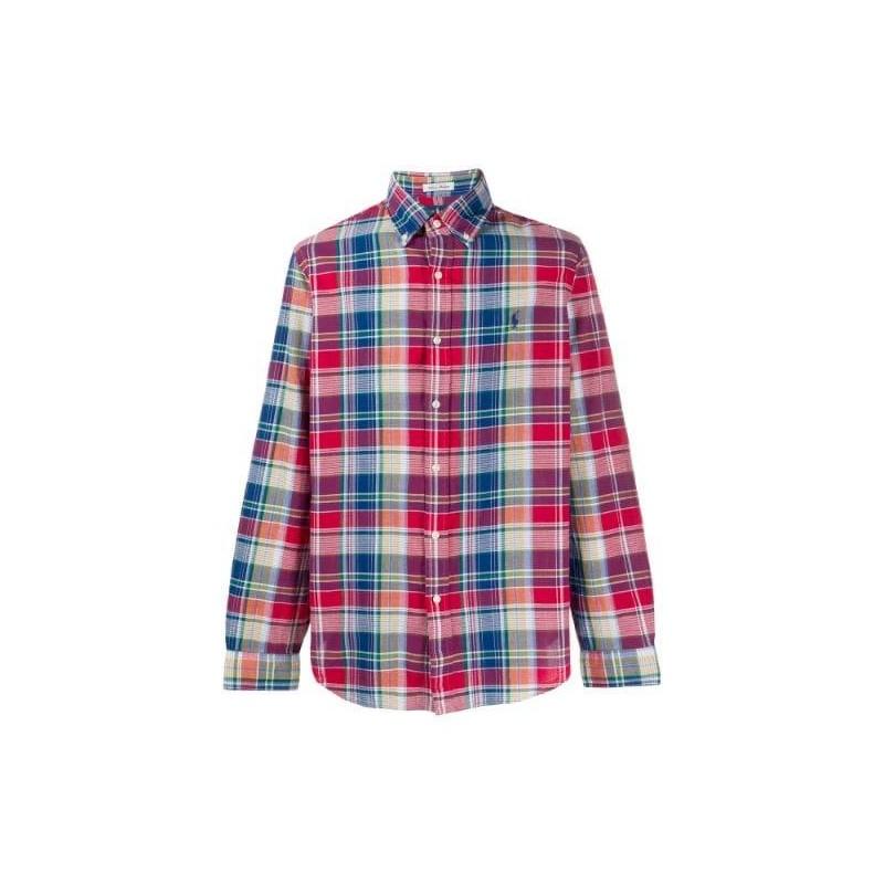 POLO RALPH LAUREN - Camicia in Cotone  Custom Fit - Rosso/Blu