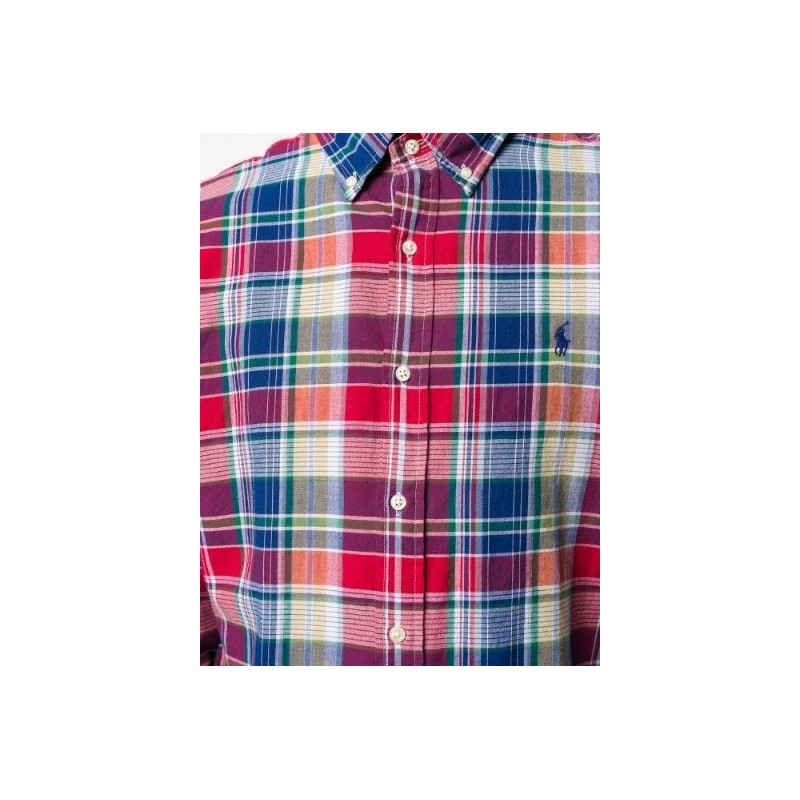 POLO RALPH LAUREN - Custom Fit Cotton Shirt - Red/Blue