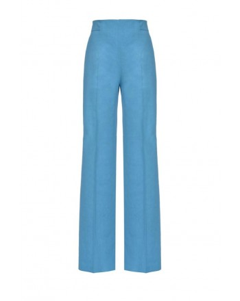 PINKO - LUIGIA3 trousers in linen and viscose - Light Blue