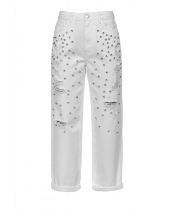 PINKO - MADDIE7 trousers in cotton with rhinestones - White