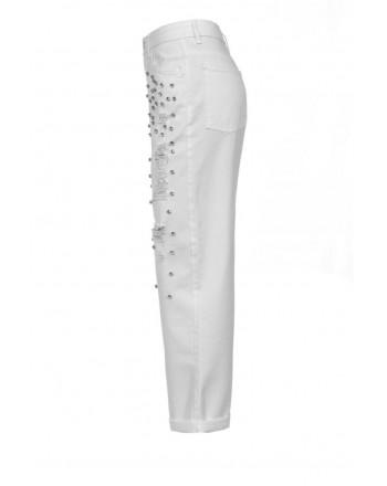 PINKO - Pantalone MADDIE7 in cotone con strass - Bianco