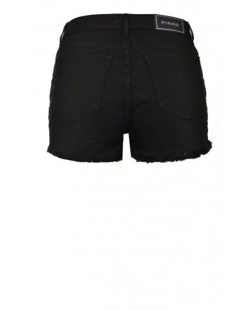 PINKO - MUTEKING short in cotton with rhinestones - Black