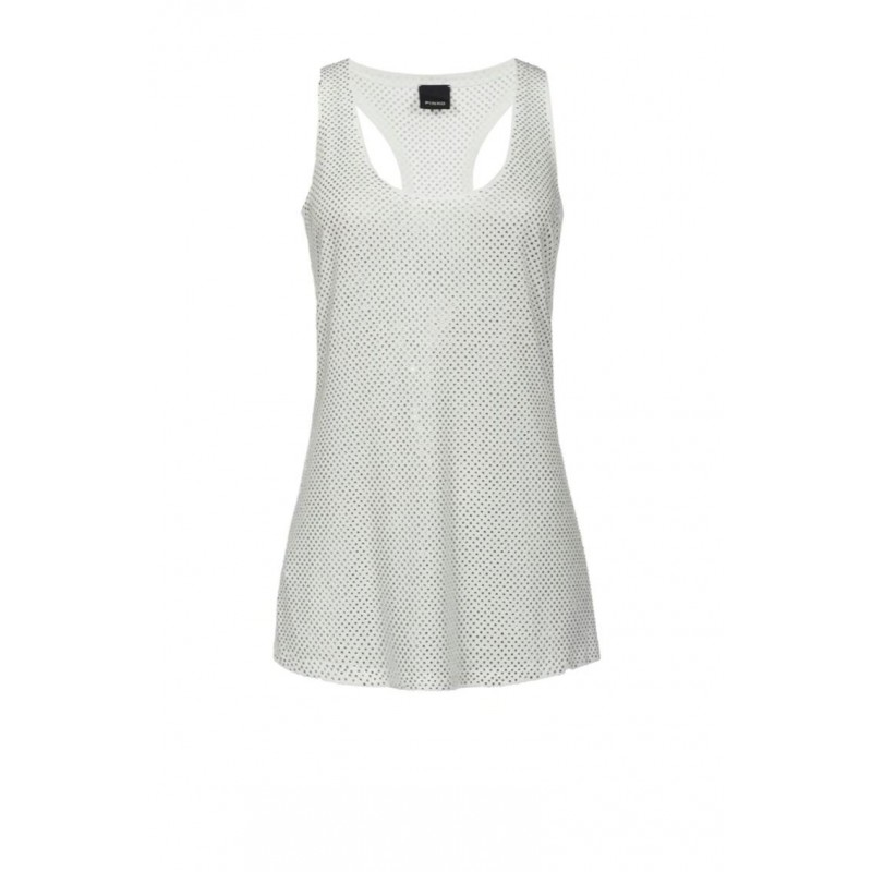 PINKO - BAKUGAN top in modal with rhinestones - White