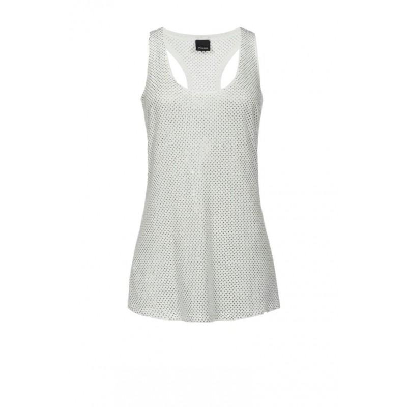 PINKO - Top BAKUGAN con strass in modal - Bianco
