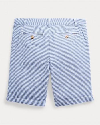 POLO RALPH LAUREN KIDS - Stretch cotton seersucker bermuda - White/Blue
