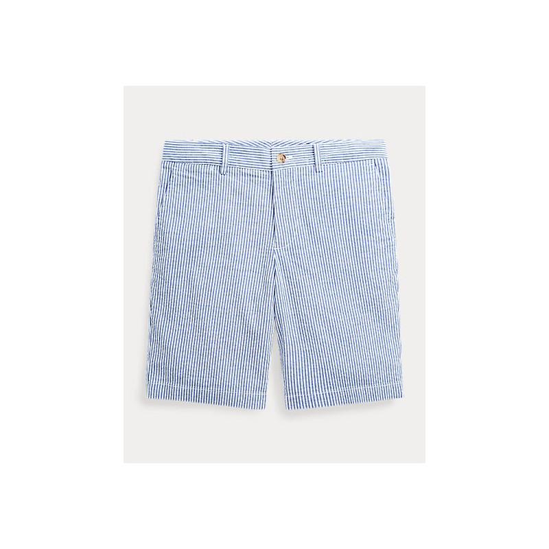 POLO RALPH LAUREN KIDS - Bermuda seersucker cotone stretch- Bianco/Blu