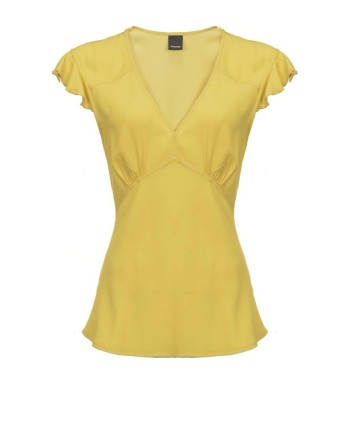 PINKO - POP CORN top in viscose - Yellow