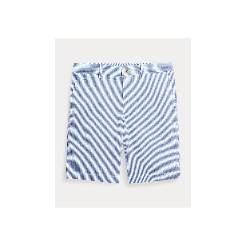 POLO RALPH LAUREN KIDS - Bermuda Seersucker Cotton Stretch - White/Blue