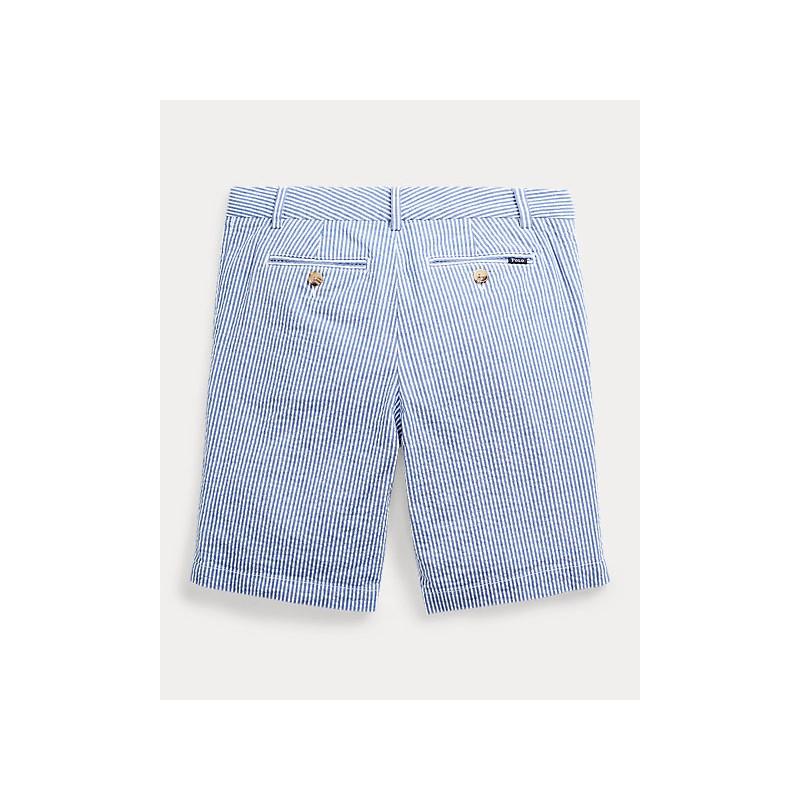 POLO RALPH LAUREN KIDS - Bermuda Seersucker Cotone Stretch - Bianco/Blu