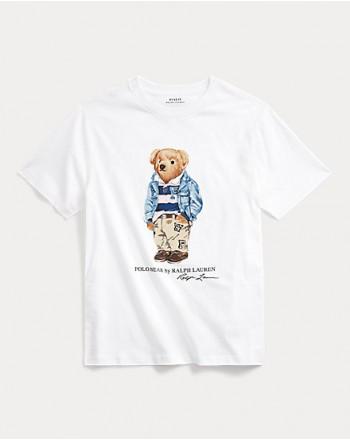 POLO RALPH LAUREN KIDS -  Bear print T-Shirt Cotton