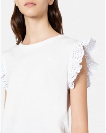 PHILOSOPHY di LORENZO SERAFINI - T-Shirt con rouches - Bianco