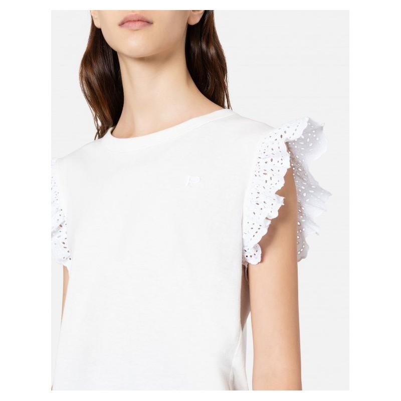 PHILOSOPHY di LORENZO SERAFINI - Ruffle T-Shirt - White