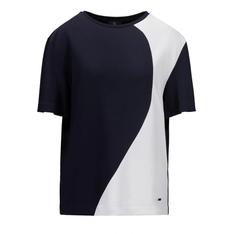 FAY- T-Shirt Color Block - Blu/Bianco