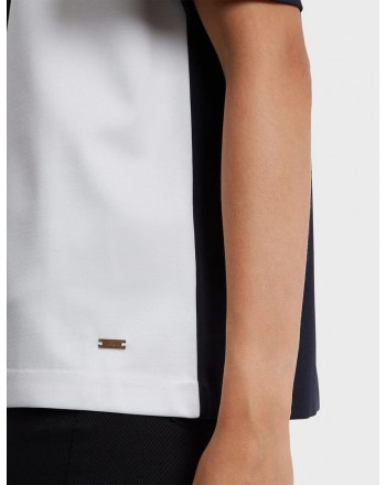 FAY- T-Shirt Color Block - Blu/Bianco