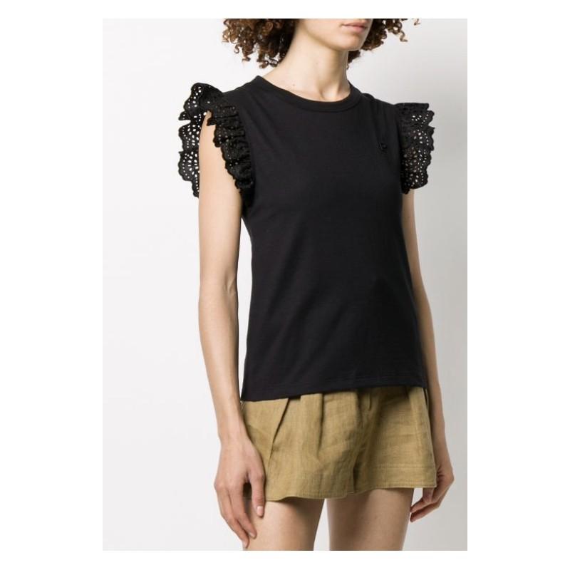 PHILOSOPHY di LORENZO SERAFINI - Ruffle T-Shirt - Black