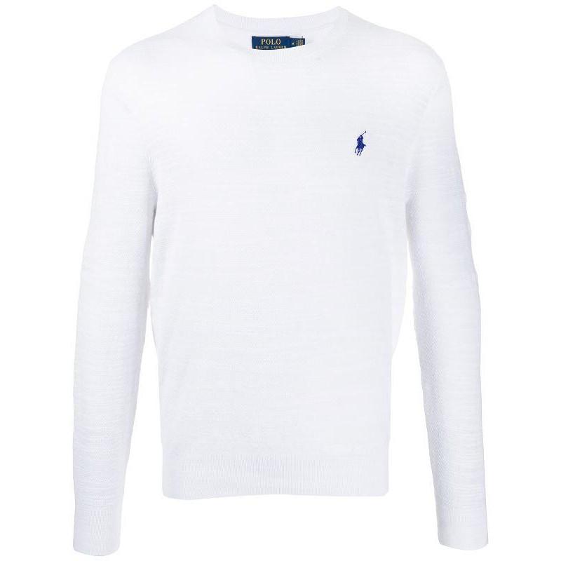 POLO RALPH LAUREN - Maglia Chicco di Riso in Cotone con Logo - Bianco