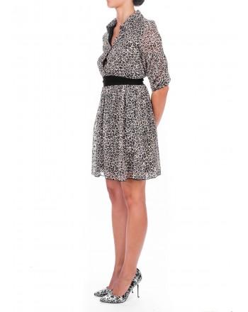 PINKO - Fil Coupe Printed Dress FLORINDO - Cream /Black