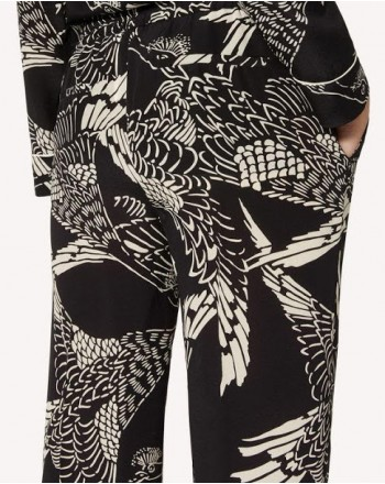RED VALENTINO - Printed silk trousers - black